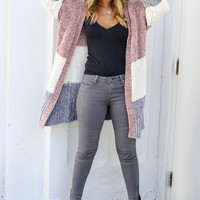 Long Term Multi Colored Open Front Chenille Cardigan