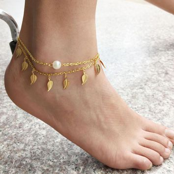 1PC Sexy Simple Gold Anklet Ankle Bracelet Leaf Foot Chain Adjustable