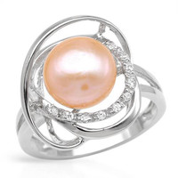 Ring with Cubic Zirconia/ 95mmFreshwater Pearl .925 Sterling Silver | Overstock.com Shopping - The Best Deals on Pearl Rings