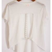 Studded Cut Out Tee- White