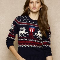Intarsia-Knit Reindeer Sweater