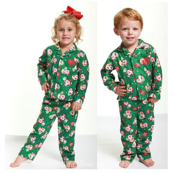 Absorba 2017 Christmas Green Santa Button Cotton Down Pajamas