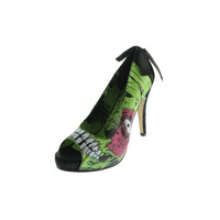 Iron Fist Womens Zombie Stomper Graphic Slip On Platform Heels