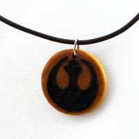 Star Wars Necklace Rebel Alliance Wood Burned