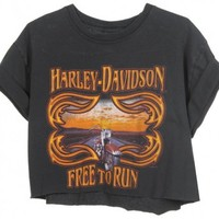 Rokit Recycled Black 'Harley Davidson' Cropped T-Shirt - Vintage clothing from Rokit - cropped t-shirt, cropped t, crop top, belly top, tshirt