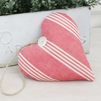 Vintage French Red Ticking Lavender Sachet Heart, French Country