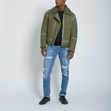 Nahariya Shearling Aviator Jacket in Loden
