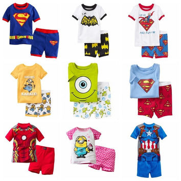 2014 New kids short clothes set boys girls kids short pajama set,cartoon children pyjamas,baby toddler sleepwear 2T-7T