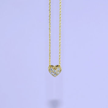 Sweet CZ Heart Necklace, Gold Plated Brass Pendant, Delicate Chain, Everyday Wear, Perfect Gift