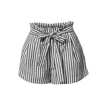 Striped Paperbag Waist Shorts