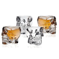 Hot Sale 3D Transparent Creative Skull Shot Glass Crystal Head Cup for Whiskey Home Bar Drinking Ware Man Gift Cup 4 pcs/set
