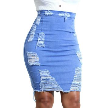 Ladies Womens High Waist Ripped Denim Distressed Bodycon Pencil Mini Jean Skirt