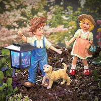 3 Pc Solar Garden Statue Set - Country Boy Girl Dog Lawn Yard Art Garden Decor