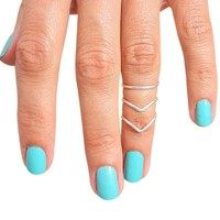 Sterling Silver Double Chevron Plain Band Adjustable Midi Toe Rings