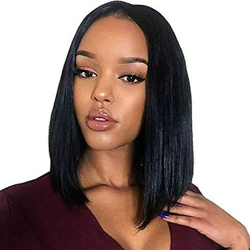 Short Lace Front Human Hair Wigs Bob Wigs  Brazilian Remy Straight Bob Lace Front