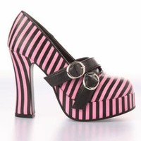 T.U.K. Pink & Black Striped Platform Shoe (Vegan) - Punk.com