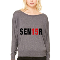 Sen15R. Senior 2015 WOMEN'S FLOWY LONG SLEEVE OFF SHOULDER TEE
