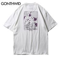 GONTHWID Japanese Ukiyo E Printed Short Sleeve T Shirts Men Hip Hop 2018 Summer Streetwear Top Tees Fashion Casual Cotton Tshirt