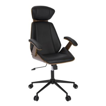 Spectre Mid-Century Modern Walnut Wood Office Chair in Black by LumiSource