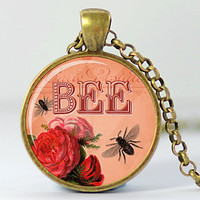 Bee Necklace, Honeybee Art Pendant, Bees and Flowers Charm, Bee Jewelry (193)