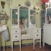 shabby chic pink vanity dressing makeup by VintageChicFurniture