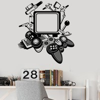 Vinyl Decal Gaming Decor Video Game Playroom Teen Room Joystick Wall Stickers Unique Gift (ig2946)