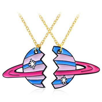 2pcs/set Planet Pendant Necklace Broken Planet Planetary Tracks Cartoon Milky Way Best Friends Necklace BFF Personality Jewelry