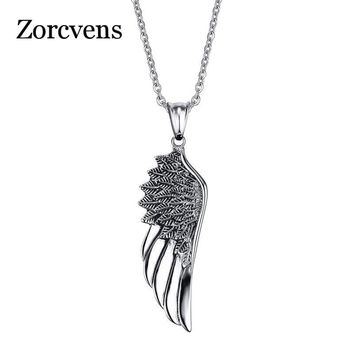 ZORCVENS Punk Vintage 316L Stainless Steel Feather Angel Wing Pendants Necklace Retro Punk Jewelry for Man