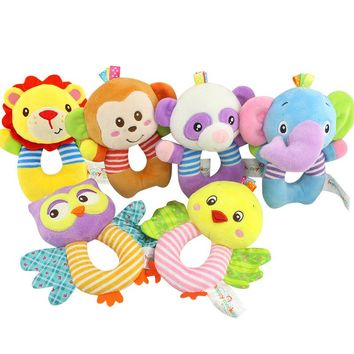 HAPPY MONKEY baby toys O-type bells early education puzzle plush toys baby hand bell WJ534