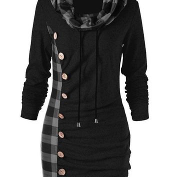 New Black Checkered Buttons Drawstring Pleated Cowl Neck Long Sleeve Casual Mini Dress