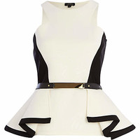 CREAM TWO-TONE SCUBA BELTED PEPLUM TOP