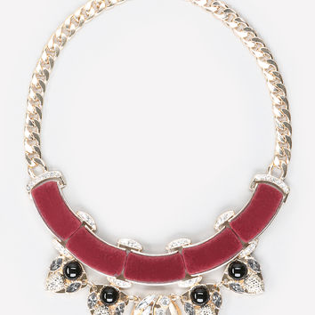 bebe Womens Velvet & Crystal Necklace Multi