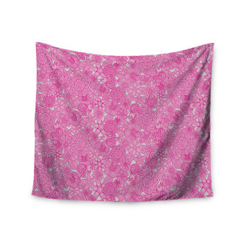 "Julia Grifol ""Welcome Birds To My Pink Garden"" Wall Tapestry"