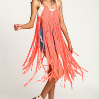 Coral Braided Fringe Boho Top