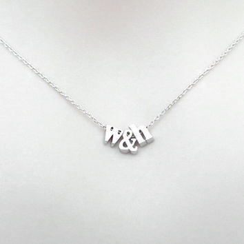 Personal, Lower case initial + & + Lower case initial, Gold, Silver, Necklace, Lovers, Friends, Mom, Sister, Gift