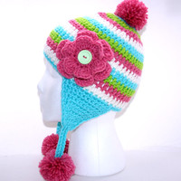 Earflap hat teen pom pom hat ladies beanie, winter head covering striped hat