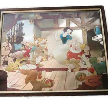 Vintage Disney Snow White And The Seven Dwarfs Dufex Foil Print