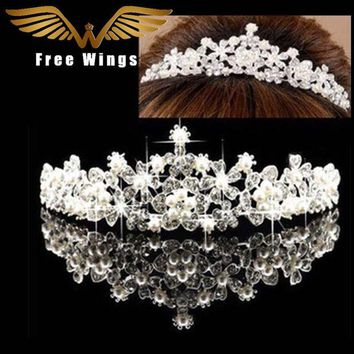 DCCKU62 Pearl Wedding Bridal Hair Accessories Bride Crown Tiara Hair Head Jewelry Tiaras And Quinceanera Crowns Headpiece Pins comb ABC