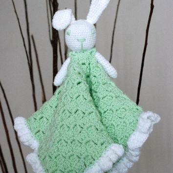 Lovey Security Blanket Green for Baby Infant Newborn Amigurumi Bunny Rabbit