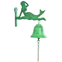 Outdoor Mermaid Metal Verdigris Finish Bell