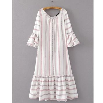 Women Mixed-color Striped Maxi Dress O Neck Butterfly Sleeve Sundress Casual Cotton Linen Summer Dresses