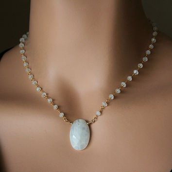 Moonstone Pendant Necklace, Oval Rainbow Moonstone, Rosary Style, Wire Wrapped necklace, White Gemstone