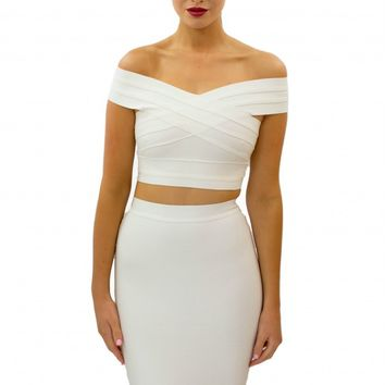 """MILLY"" Crop Top White - BANDAGE TOPS - SHOP NOW"