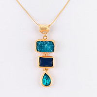 Triple Rectangle Pendant Necklace - Blue