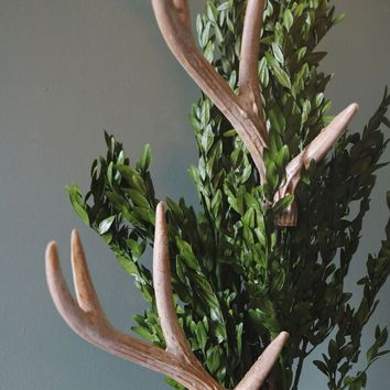 "Faux Deer Antler Christmas Spray - 24"" Tall"