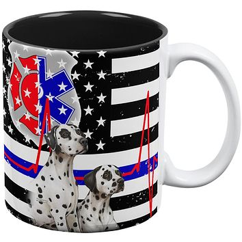 Firefighter EMT Dalmatian Live Forever Thin Red Line Flag Coffee Mug