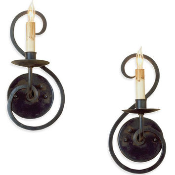 Currey Iron Flourish Wall Scone Pair-5528