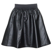 Black Leather Skater Pleated High Waisted Skirt by goodnightmacaroon - Chictopia