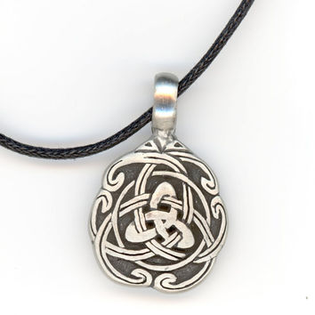 Celtic Knot Pendant and Necklace of Black Woven Cord by Lehane