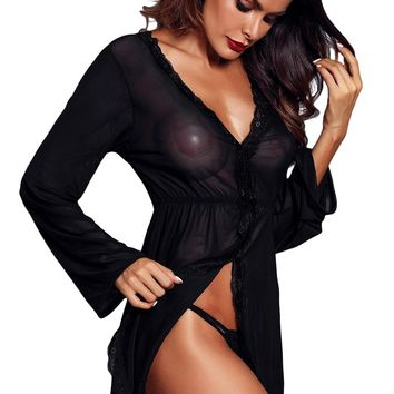 Black Flared Long Sleeve Babydoll with G String